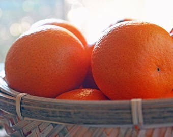 Oranges in Fruit Basket Food Photography Print, Fine Art Prints, Wall Art for Kitchen, Home Decor