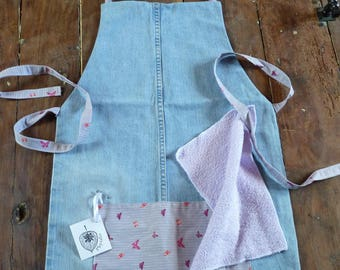 Kitchen apron in denim and fabric pattern small butterflies, purple background
