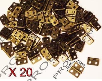 Set of 20 Mini Bronze hinges for jewelry box chest box 13 * 12 mm matching screws