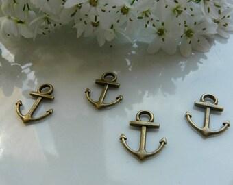 bronze anchor charms pendant 2 x
