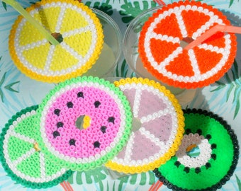 Lid for hama beads glass decorative fruit