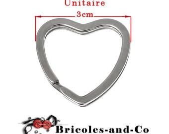 Key heart ring silver tone size 3cm. Unit