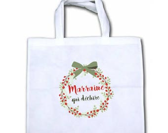"""Christmas SPECIAL canvas tote bag """"Godmother (or other) which tears"""""""