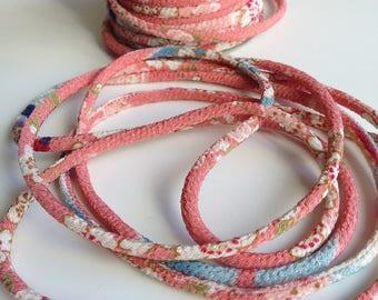Japanese cords 2mm, Chirimen, cherry blossom pattern, pink (C3003-2)