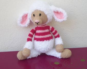 crocheted pink and white wool sheep