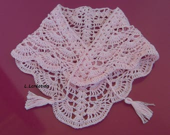 Pink kids crocheted cotton shawl