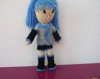 Doll manga hooked wool beige and blue