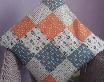 Tall tales, tangerine, orange, patchwork cushion