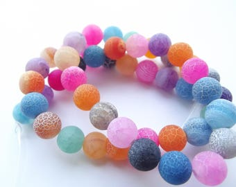 36 9-10 mm PREETI 939 frosted multicolored agate beads