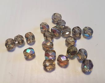 FACETED 6MM OLIVINE AB BEADS