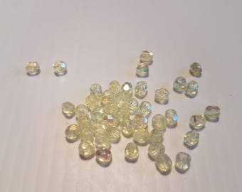 Faceted 4MM yellow AB