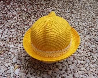 Star child patterns yellow straw hat