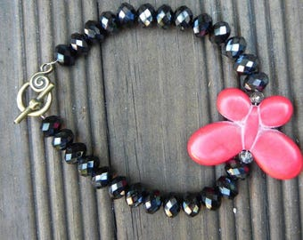 Bracelet rustic red glass and stone Butterfly