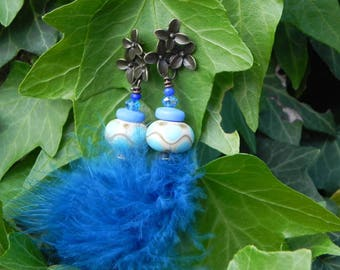 "handcrafted earrings glass bead and feather ""mischievous sweetness"""