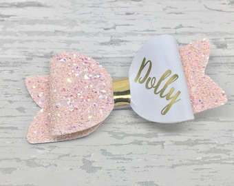 Small Personalised Bow, toddler hair clip, personalized hair bow clip gift, baby headband, Personalised gift, glitter hair bows,