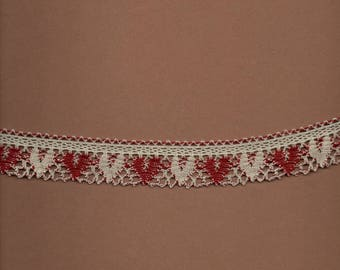 """Cotton lace with """"red hearts 815 and grey 648"""" wide 2.5 cm"""