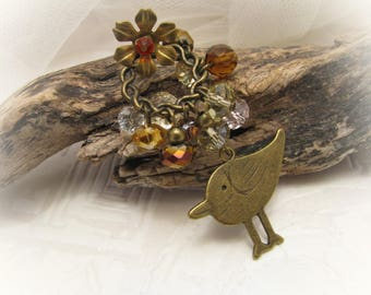 Vintage style brass pendant necklace/bird pendant/chain necklace/gift for girl/