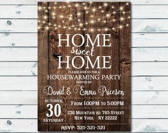House Warming Invitation, House Warming Party Invite, Home Sweet Home, Wood New Home Invitation 1028