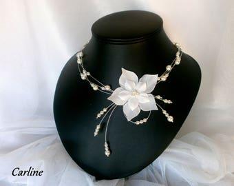 Joana - Wedding Silk Flower necklace Pearl triple strand bridal white