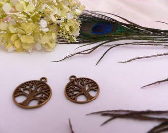 Set of 2 tree of life pendant bronze