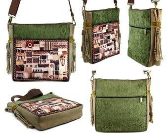 Green crossbody bag, Hippie bag, Purse, Sac a main, Handbag, Tasche, Shoulder bag, Best friend gift, Wife gift
