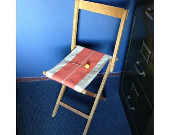Vintage wooden Folding chair with original canvas upholstery-vintage camping chair with orange trim