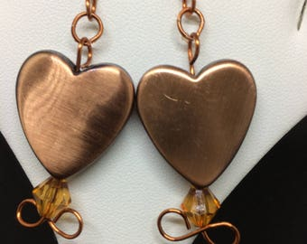 copper colored heart earrings, dangle, brown,ear wires, heart shaped,solid color,bead,small - medium size heart, hanging,drop