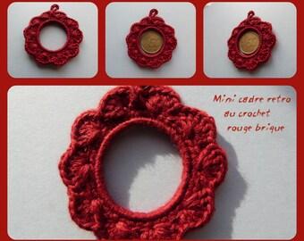 Mini frame retro brick red cotton hand knitted crochet