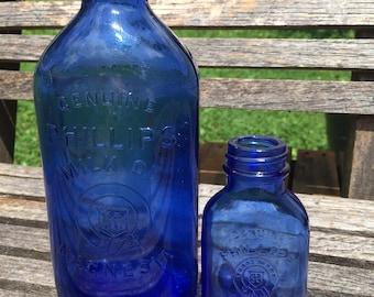 Set Vintage Cobalt Blue Bottles