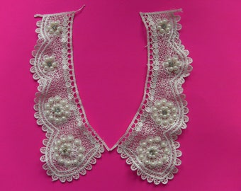 blouse neckline collar applique lace ivory guypure and beads