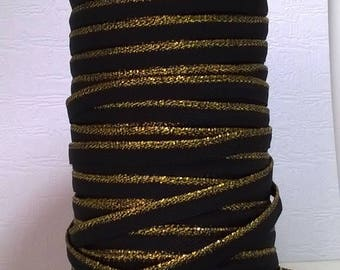 Synthetic thin stripe black and gold