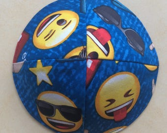 Emoji kippah yarmulke,kids kippot,back to school,cool fun fabric kippah,lined skullcap,crazy kippah,smiley face