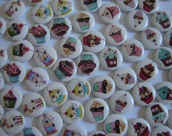 10 FANCY CUPCAKE CAKE ASSORTED WOOD BUTTONS / / 15 MM