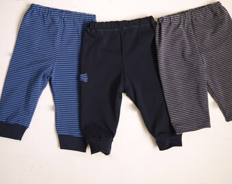 tightened at the bottom or not, striped jersey baby leggings pants, size 3, 6, 12 or 18 months