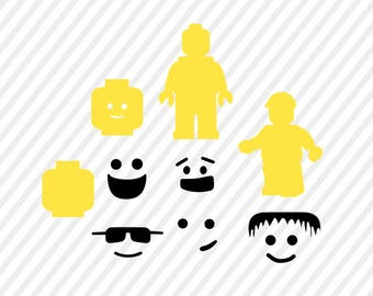 lego man svg, lego birthday digital file, cricut file, silhouette files, svg cutting files, dxf file, lego svg, instant download, lego faces