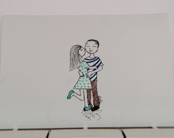 """""""couple"""" drawing in marker"""