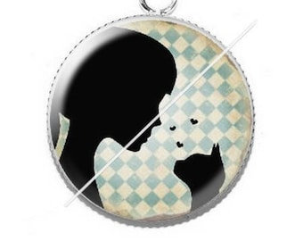 Pendant cabochons 25mm lady and her cat 1