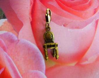 bronze charm Chair renaissance for creating jewelry and decoration Dollhouse heart lobster clasp