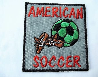vintage american gray 52 mm soccer badge patch for customization of stick or sew sewing applique