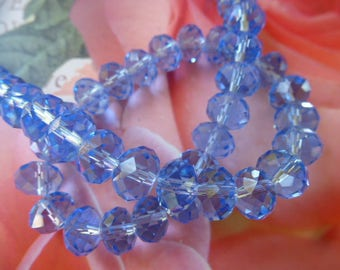 Crystal beads ultramarine blue faceted 8 x 6 mm set of 8