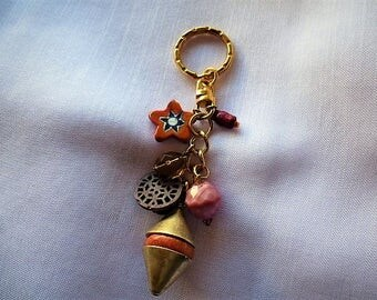 Key charms and coral, Bohemian beads, millefiori colors of the Sun, star.