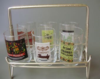 Rare,Hungarian Vintage glass barware,  shooters,6 shot glasses on rack