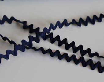 Navy Blue zig zag Ribbon trim, braid width 1.1 cm sale by the yard