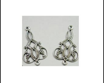 2 connectors silver plated art deco earrings 25 X 15 mm