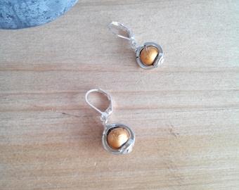 "Orange ""Bellis"" Pearl Silver earrings"