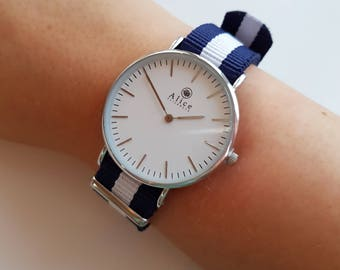 Watch, Gift, Gift for her, Watches, Minimalist, Jewelry, Jewellery, British, Navy, Alice Elizabeth UK