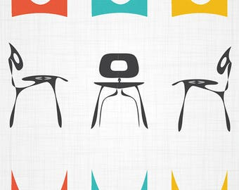 Herman Miller / Eames Inspired Midcentury Modern Style chairs and shapes - Archival Giclée Print