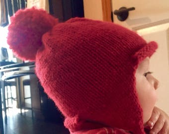 EARFLAT HAT, Bomber Hat, Beanie Hat, Baby Hat, Childrens Hat, Hand Knitted, Mommy and Me, Daddy and Me