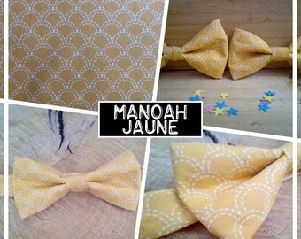 """Collection """"Manoah"""" yellow bow tie adult teen child baby wave Japanese/geometric"""
