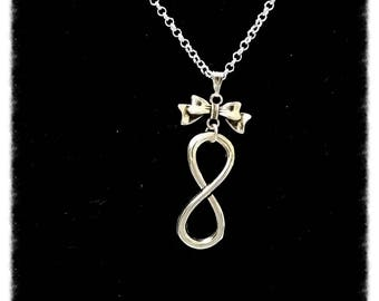 Sterling Silver infinity symbol charms and bow